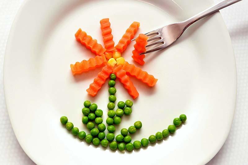 Фото консервированного зеленого горошка на блюдце с морковкой